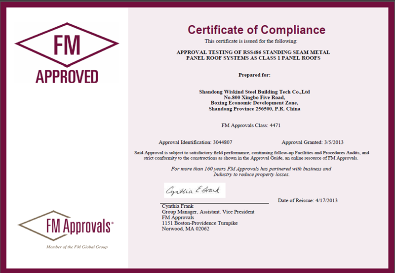 FM Certification for Corrugated Steel Sheets